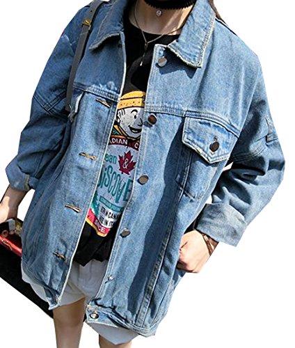ARRIVE GUIDE Women's Casual Retro Washed Loose Fit Boyfriend Denim Jackets Light Blue X-Large (Jacket Jimmy Womens)