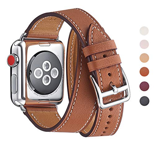 WFEAGL Compatible iWatch Band, Top Grain Leather Band Replacement Strap iWatch Series 4,Series 3,Series 2,Series 1,Sport, Edition (Brown Double Tour Band +Silver Buckle, 38mm ()