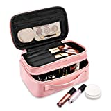 Make up Bag, HZOO Small Travel Organizer with Brush Holder, Portable Multifunctional Cosmetic Bag for Women Girls, Zipper Pouch, 2 Layer, Pink