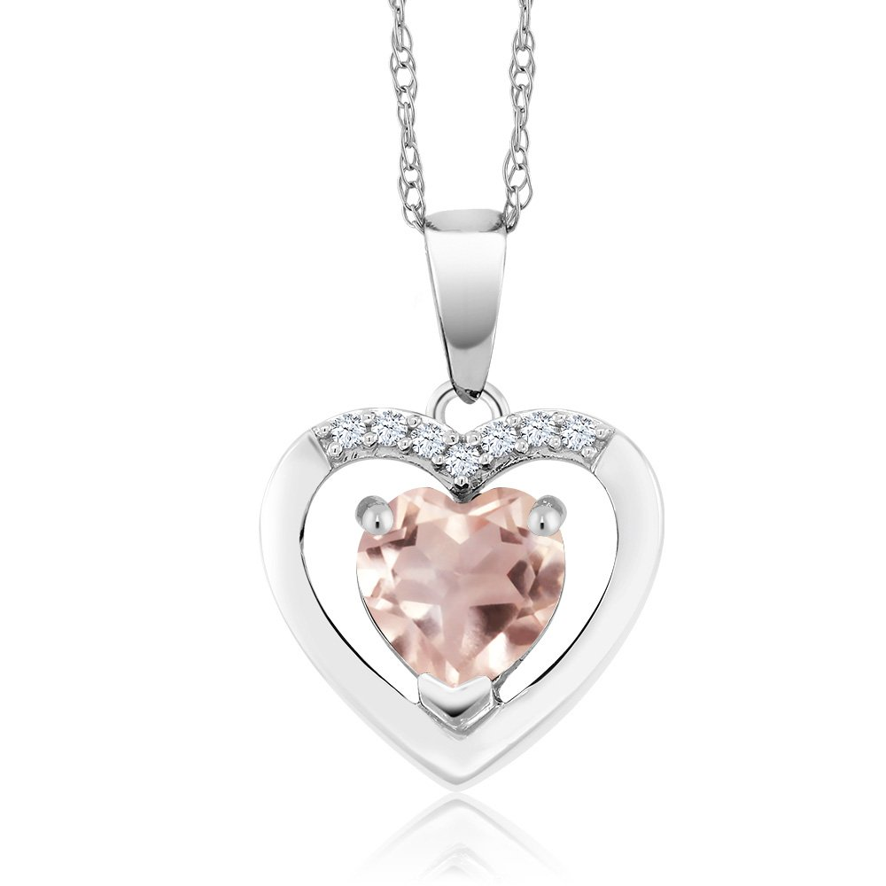 10K White Gold 0.75 Ct Rose Quartz and Diamond Heart Pendant Necklace with 18 Inch Chain
