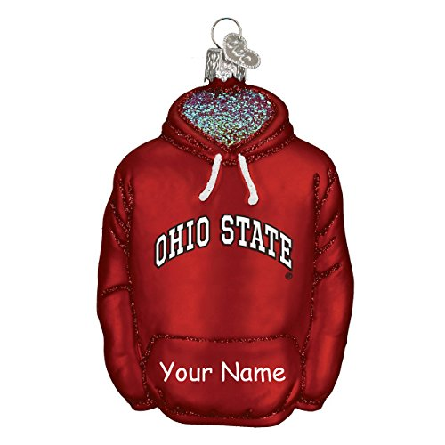 Personalized Officially Licensed Ohio State University Collegiate Collection Glittered Hoodie Christmas Ornament with Name