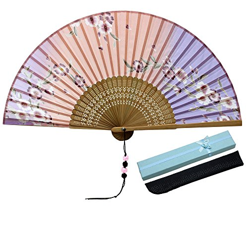- JSSWB Flower Fall Painting Ombre Colored Silk Bamboo Fans with Cover Case