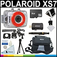 Polaroid XS7 HD 720p 5MP Waterproof Sports Action Camera with LCD Touch Screen with Helmet & Bike Mounts + 8GB Card + Deluxe Case + Polaroid Accessory Kit