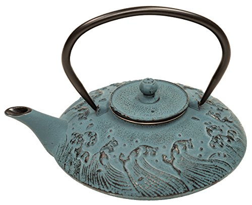 Cast Iron Teapot - Tranquility Waves, Blue - 27oz/0.8L (not for stove top use)