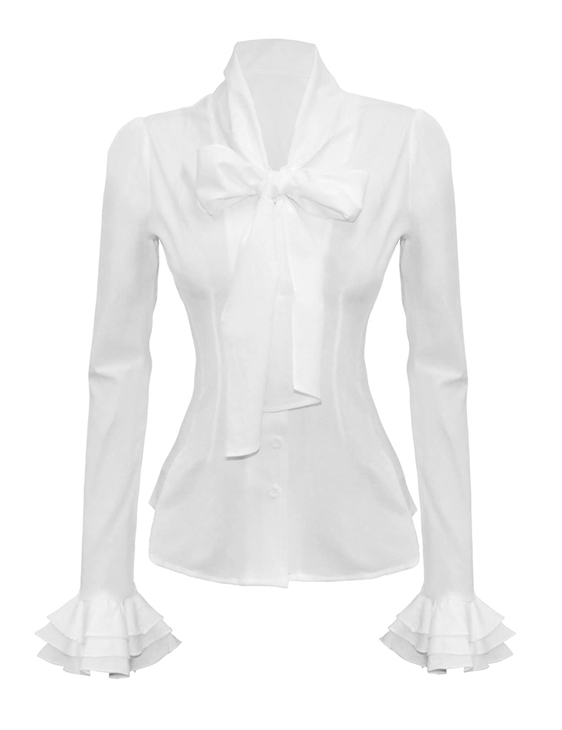 Vintage Bow Tie Neck Long Sleeve Shirt Blouse Tops $23.99 AT vintagedancer.com