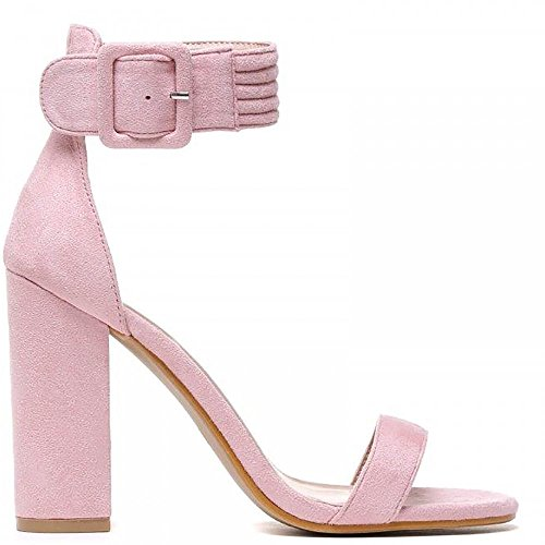 Pink Toes Strappy Closet Ladies Heel Sandals Shoe Peep Ankle High Strap Light UWtagxzwq
