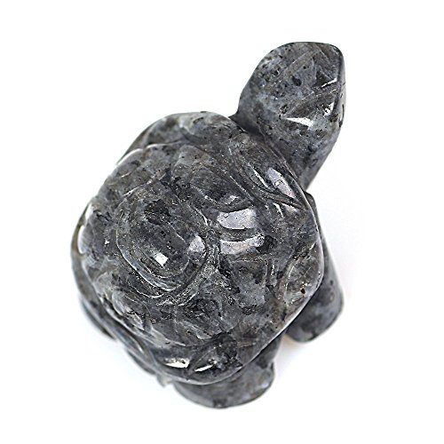 Ruhong 1.9'' Hand Carved Crystal Craft Animal Figurine Reiki Healing Stone Gift Home Figurines Holiday Home Office Lucky Tortoise Statue Décoration Christmas Birthday Business Gifts (labradorite) by Ruhong