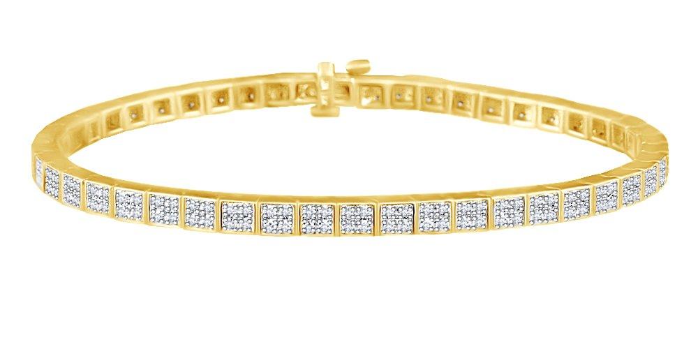 Unisex Tennis Bracelet In 14k Yellow Gold 2 CT Round White Natural Diamond 8.5''