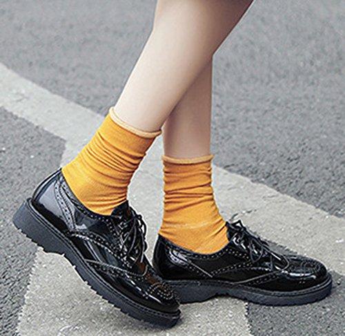 Idifu Femmes Classique Bas Talons Chunky Lacets Jusquà Richelieus Chaussures Oxford Noir