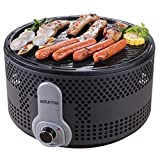 Gourmia GBQ330 Portable Charcoal Electric BBQ Grill - 90% Smoke Reduction Barbecue with Turbo Fan, Removable Electronics, Travel Bag- 110/120V