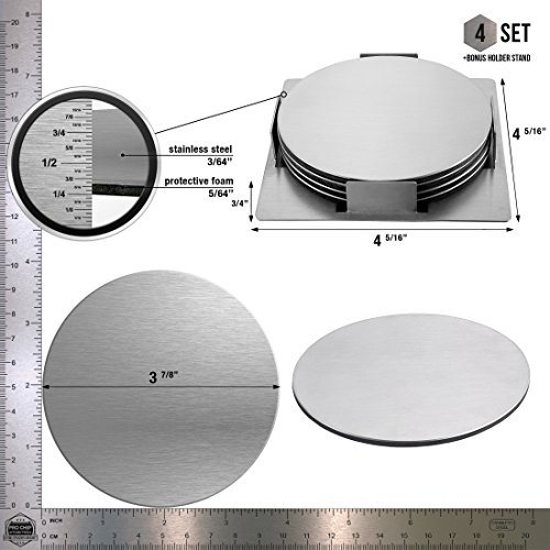 Large Product Image of Pro Chef Kitchen Tools Stainless Steel Beverage Coaster Set - Set of 4 Round Table Coasters To Prevent Tabletop Stains and Scratches From Glasses, Bar Drinks, Mugs, Coffee Cups, Wine