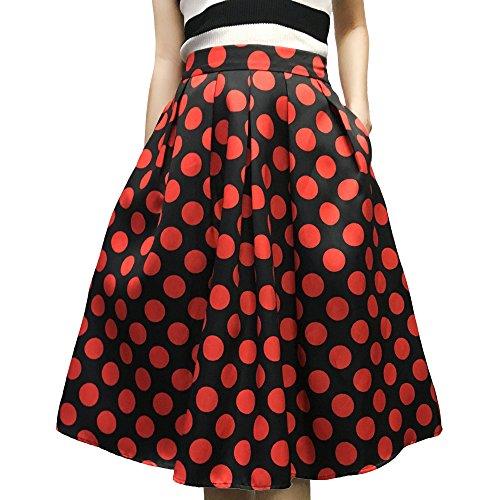 Full Skirt Pleats Skirt - Yige Women's High Waisted A line Skirt Skater Pleated Full Midi Skirt Red Wave Point US2