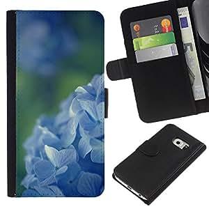 EJOY---La carpeta del tirón la caja de cuero de alta calidad de la PU Caso protector / Samsung Galaxy S6 EDGE / --Spring Green Campo de flores Naturaleza