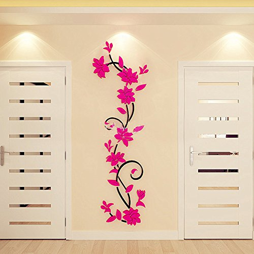 EDTO DIY 3D Flower Tree Vase Crystal Arcylic Wall Stickers Living Room Bedroom TV Background Home (Hot Pink)