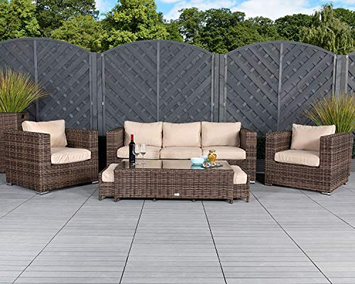Patio Conversation Sets Outdoor Sectional Sofa No Assembly Alumimum Outdoor Furniture Set Olefin Cushioned 6Pcs Brown Wicker Outdoor Couch Deck Patio Furniture w Free Waterproof Covers