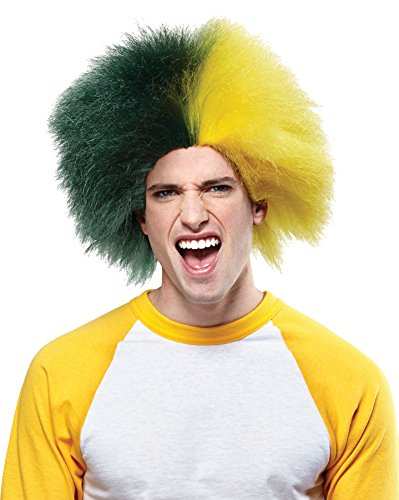 Crazy Sports Fan Wig color Green & Gold - Fun Spiky Bay Oregon Packers Ducks Athletics Team Troll Style Synthetic]()