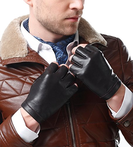 NappaNovum Men's Classic Fingerless Gloves Italian Nappa Leather Silk Lining Half Finger Driving Cycling Outdoor Gloves (L, Brown)