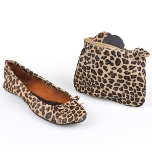 Sidekicks Womens Leopard Print Foldable Ballet Flats with Carrying Case, Medium