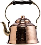 kettle for electric stove - CopperBull Heavy Gauge 1mm Thick Hammered Copper Tea Pot Kettle Stovetop Teapot (1.6-Quart)