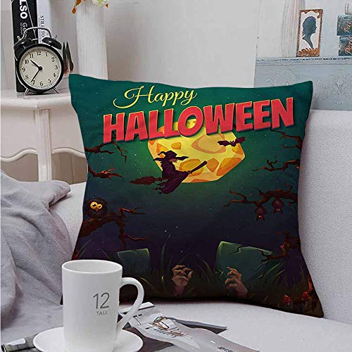 AndyTours Double-Sided Printing Throw Pillowcase Halloween Witch on Broom Vintage Premium,Ultra Soft,Hypoallergenic,Breathable 18 X 18 -