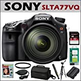 Sony DSLR SLTA77VQ 24.3MP Digital SLR Camera and 16-50MM Lens + Sony 32GB Class 10 SD Memory Card + Accessory Kit