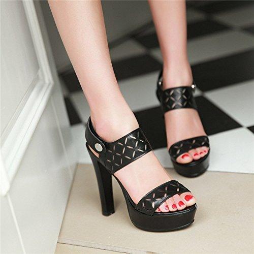 YCMDM Nuovo Tacchi alti sandali impermeabili dei pattini della piattaforma di modo delle donne , black , 38
