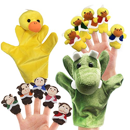 RIY 12pcs Plush Monkeys Ducks Finger Puppets Set for Toddlers with Animals Hand Puppets by RIY