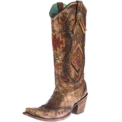 [Corral Boot Company Womens Cognac Ethnic Embroidered Cowgirl Boots 8.5 B Ld Cognac/Multi Color] (Ethnic Hats)