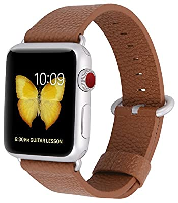 JSGJMY Apple Watch Band 38mm 42mm Women Men Genuine Leather Loop Replacement Wrist Strap with Rose gold Metal Clasp for Iwatch Series 3 2 1 Sport Edition