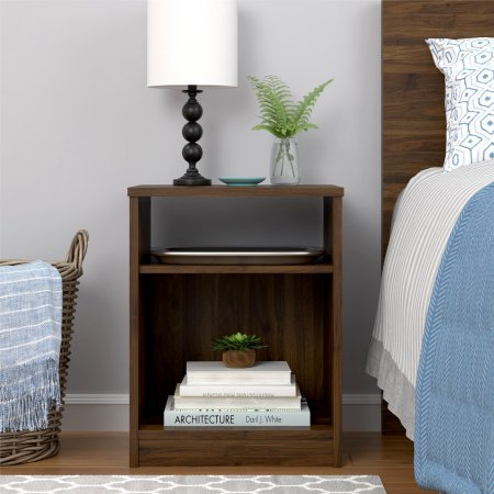 Mainstays Nightstand Features Open Top Shelf and Bottom Cubby (Canyon (Bedroom Walnut Nightstand)