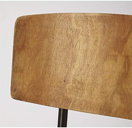 Beaumont Lane Rustic Industrial Metal and Wood Leather Side Chair