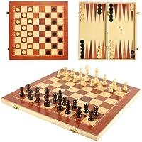 Lakshya-Wooden Chess-3 in 1 Chess / Checkers / Backgammon