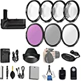 58mm 21 Pc Accessory Kit for Canon EOS Rebel T3i, T5i, 300D, 700D DSLRs with Battery Grip, UV CPL FLD Filters, & 4 Piece Macro Close-Up Set, Battery, and More
