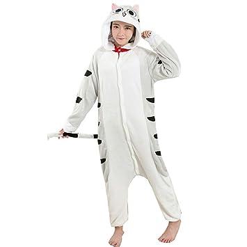 DUKUNKUN Pijama De Adultos Gato Traje De Pijamas Franela Gris Juego De Roles para Animal Ropa