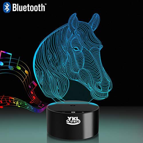 Horse 3D Illusion Night Light Bluetooth Speaker Table Lamp, YKL WORLD Led Beside Nightlight for Kids Nursery 7 Color Change Toys Birthday Gift for Girls Kid Boys Horse Lover