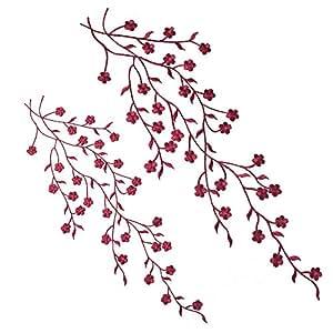 Gosear 2 Piezas Parches para Ropa Termoadhesivos - Elegantes Hierro-en Flor de Ciruela Bordada Apliques Parches Bricolaje Artesanía Vestidos de la Camiseta Jeans Ropa Bolsos Cheongsam (Tinto de Vino)