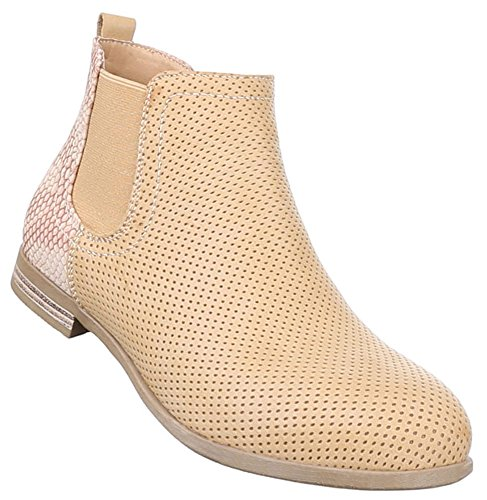 Damen Stiefeletten Schuhe Leicht Gefütterte Boots Schwarz camel 36 37 38 39 40 41 Camel