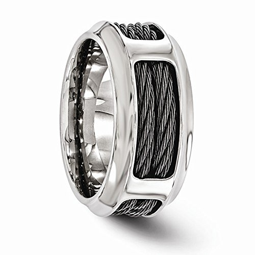 Edward Mirell Titanium with Stainless Steel Cable 10.75mm Wedding Band - Size 8.5