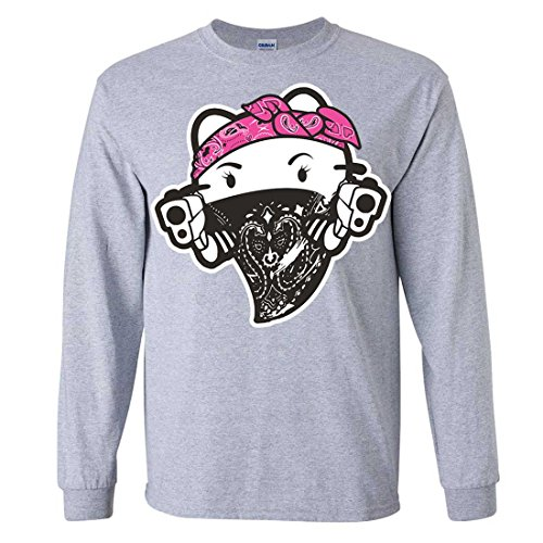 Hello Kitty Gangster Thug Long Sleeve Shirt - Sport Grey Medium (Hello Kitty Gangster)