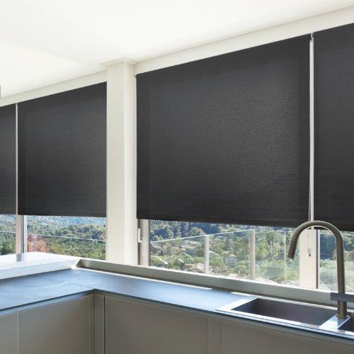 casa pura® Sichtschutzrollo - lichtdurchlässig - in neun Größen   Schwarz   80x150cm
