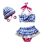HLWLWOLFOYC Baby Girls Plaid Bandeau Bowknot Bikini Set with Hat, Blue, 5T/TagXL
