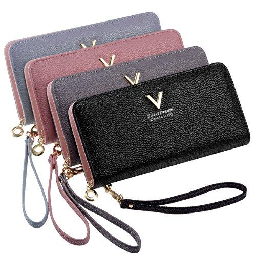 Women Clutch PU Leather Wallet (Black) - 8