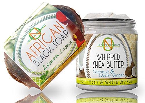 #1 Whipped Body Butter - Organic Shea Butter Cream 8oz & African Black Soap 5oz – (BEAUTY GIFT SET – Acne Care Kit) Bundle - Moisturizing, Healing, Eczema, Luxurious Feel, Improving (Soaps Whipped Shea Body Butter)