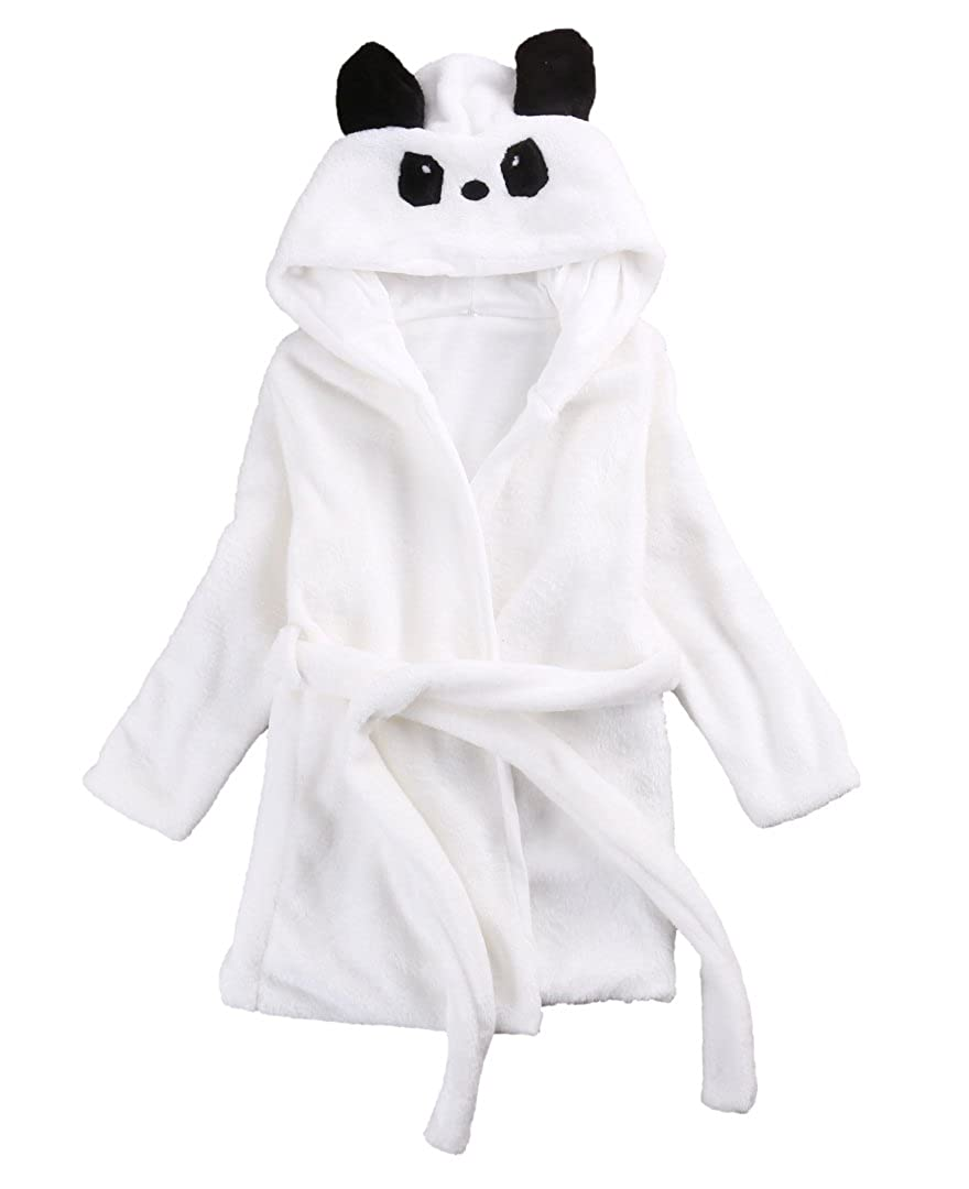 Emmababy Baby Girl's Fleece Hooded Bathrobe Unisex Kids Robe Panda Pajamas Sleepwear