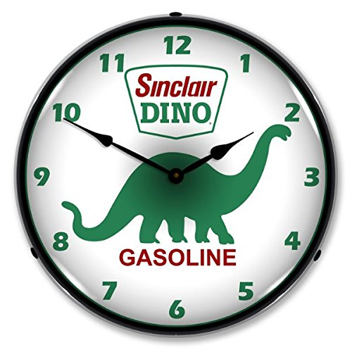 (New Sinclair Dino Retro Vintage Style Advertising Backlit Lighted Clock - Ships Free Next Business Day to Lower 48 States )