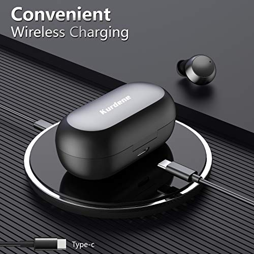 Waterproof Wireless Earbuds,Kurdene Bluetooth Earbuds with Wireless Charging case,Touch Control in Ear Bluetooth 5.0 Headphones CVC 8.0 Noise Cancelling Earphones with Deep Bass Sound for Sports-Black
