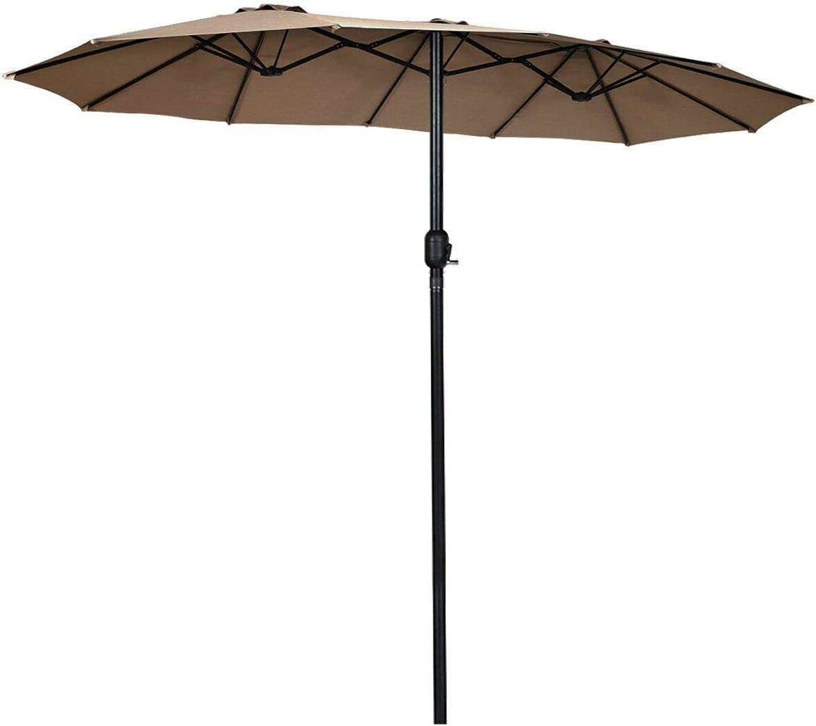 Tangkula 15 Ft Patio Umbrella Double-Sided Outdoor Market Table Umbrella with Crank Coffee