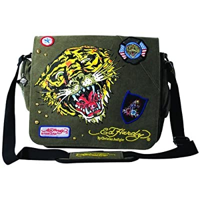 Ed Hardy Lee Tiger Messenger Bag - Khaki