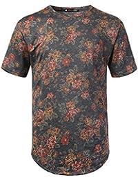 Mens Hipster Hip Hop Floral Patterned Short Sleeve T-Shirt