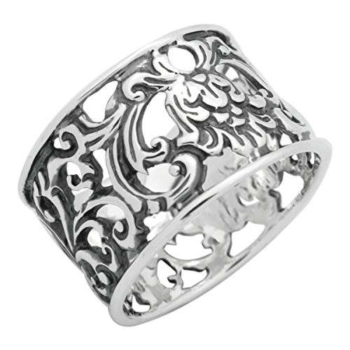 Sterling Silver Wide Filigree Vines Band Ring 12mm Wide (10)